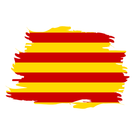 Isolated flag of Catalonia on a white background, Vector illustration