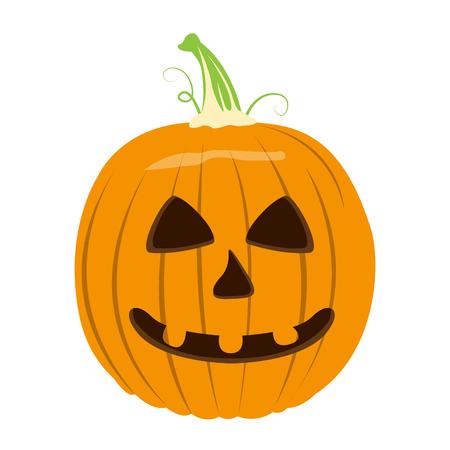 Isolated halloween jack-o-lantern on a white background, Vector illustration