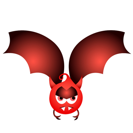 Isolated devil Halloween bat on a white background.