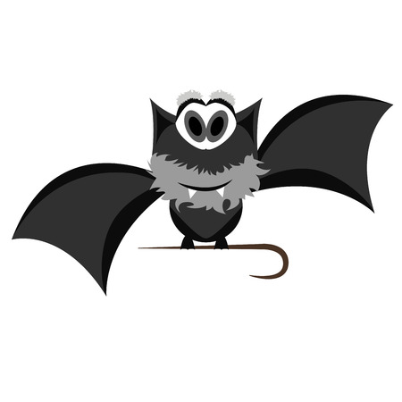 Isolated old Halloween bat on a white background. Illustration