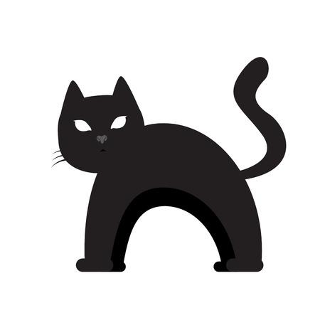 Getrenntes Schattenbild einer Katze, Halloween-Vektorillustration Standard-Bild - 88063344