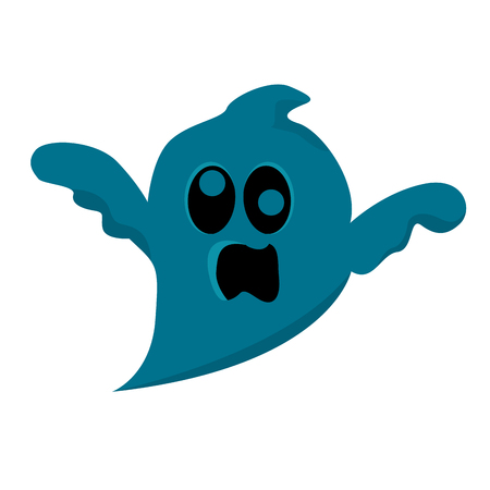 Isolated blue ghost on a white background, Vector illustration