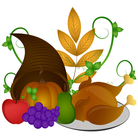 Traditional food with a cornucopia, Thanksgiving day, Vector illustration