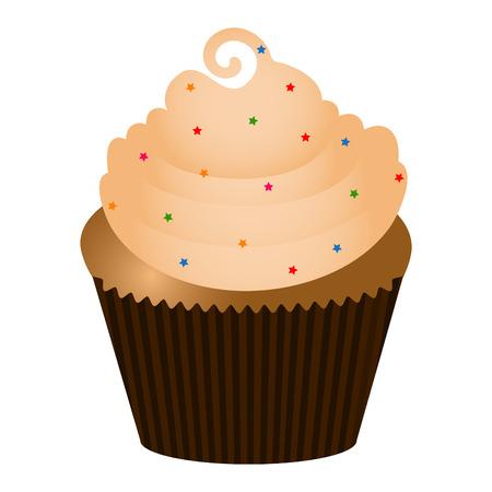Cupcake isolated on white background, vector illustration. Illustration