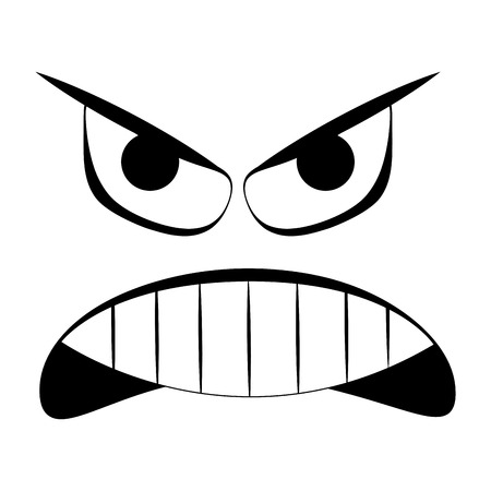 Angry expression isolated on white background, Vector illustration