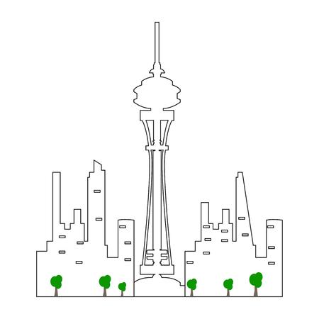 Seattle cityscape isolated illustration.