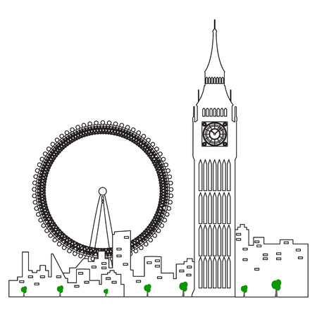 London cityscape isolated illustration. Illustration