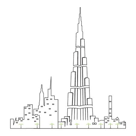 Dubai cityscape isolated illustration.