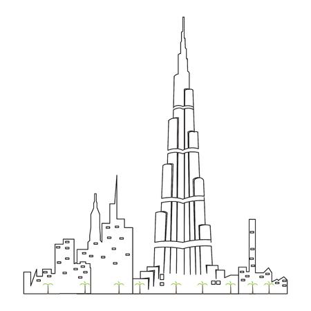 Dubai cityscape isolated illustration.