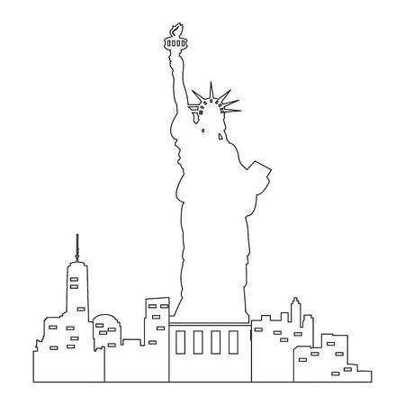 Horizonte De Nueva York Sobre Un Fondo Negro, Ilustración Vectorial ...
