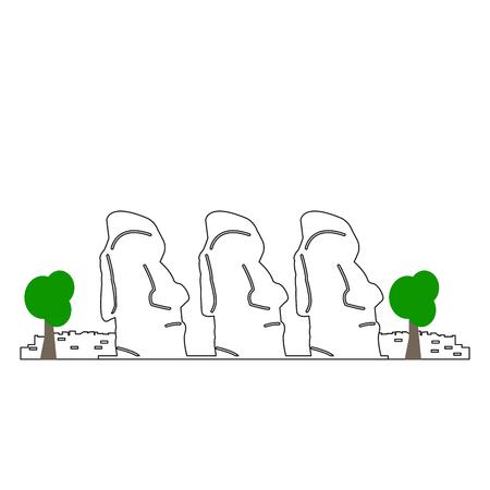 Paisaje de la isla de Pascua aislado sobre fondo blanco, ilustración vectorial Foto de archivo - 89267962