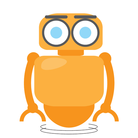 Cute robot isolated on white background, Vector illustration