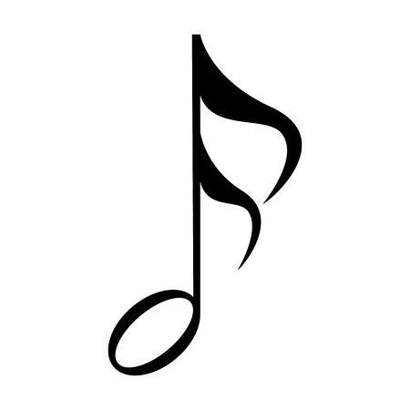 Isolated musical note, Sixteenth note, Vector illustration Illustration