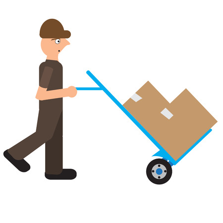 Man transporting boxes, Delivery icon, Vector illustration