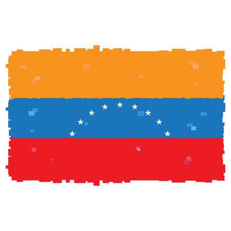 bandera de venezuela: Bandera de Pixelated de Venezuela aislado sobre fondo blanco, ilustración vectorial Vectores
