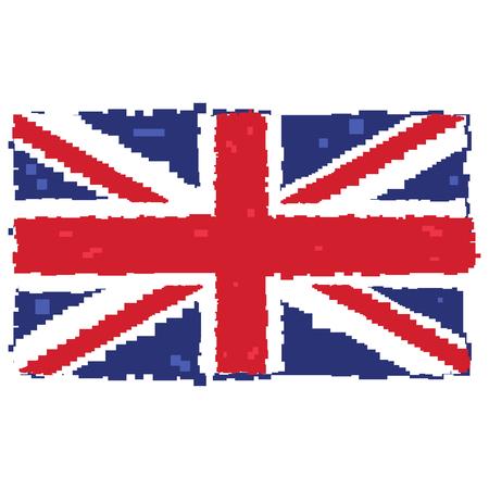 Pixelated flag of the United Kingdom, Vector illustration