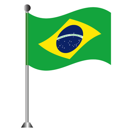 Flag of Brazil on a pole Vector illustration