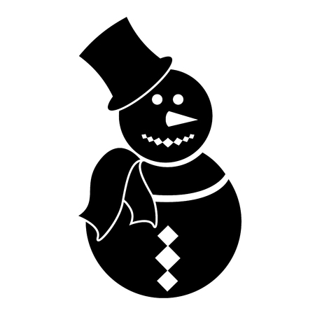 Isolated snowman silhouette vector