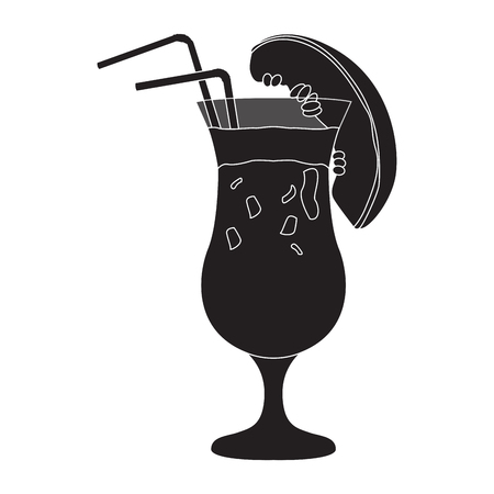 Cocktail silhouette flat icon design vector illustration