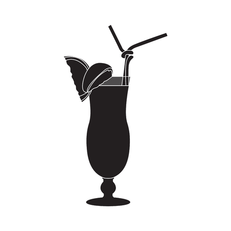 Isolated cocktail silhouette