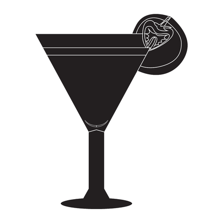gin: Isolated cocktail silhouette