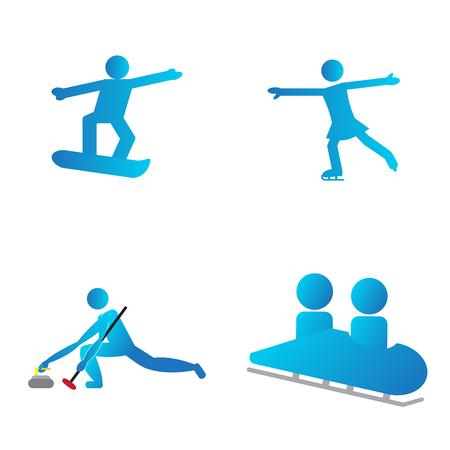 Set of winter sport symbols, Vector illustratio
