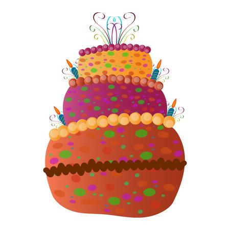 Birthday cake isolated on white background, Vector illustration Illustration