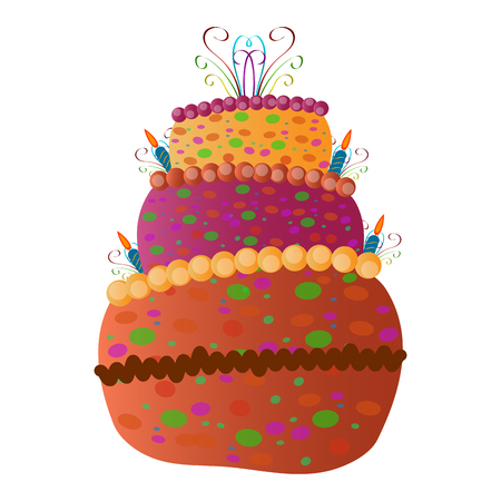 Birthday cake isolated on white background, Vector illustration Illustration