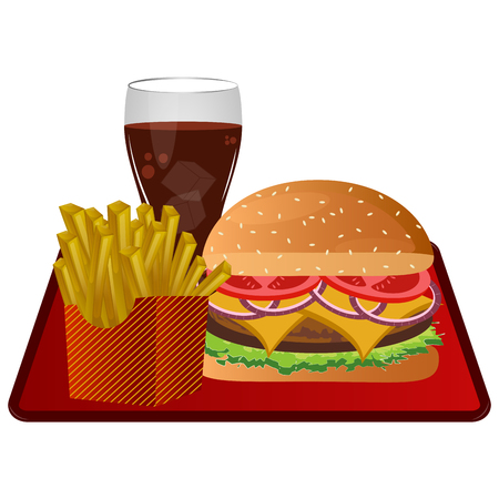 Fast food combo icon on white background illustration.