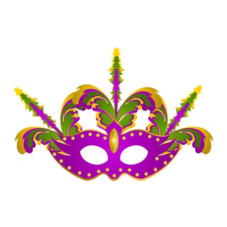 Mardi gras mask icon on white background illustration. Illustration