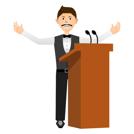 Businessman in a lectern