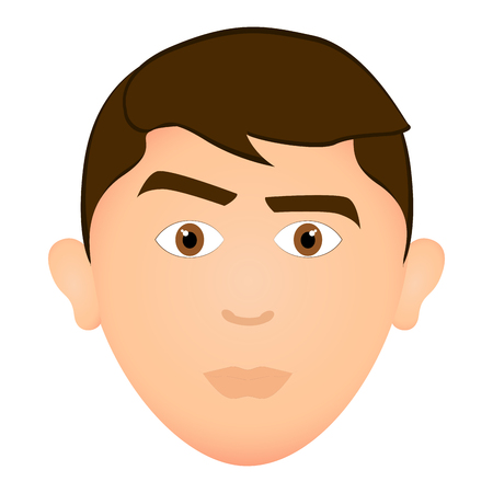 Serious man avatar character expression illustration design