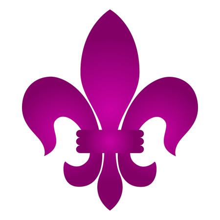 Fleur de lys, lily icon illustration on white background.