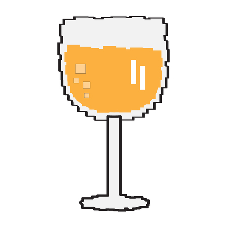 Pixelated beer glass icon on a white background, Vector illustration