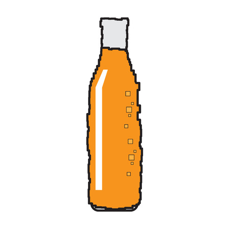 Isolated pixelated beer bottle on a white background, Vector illustration