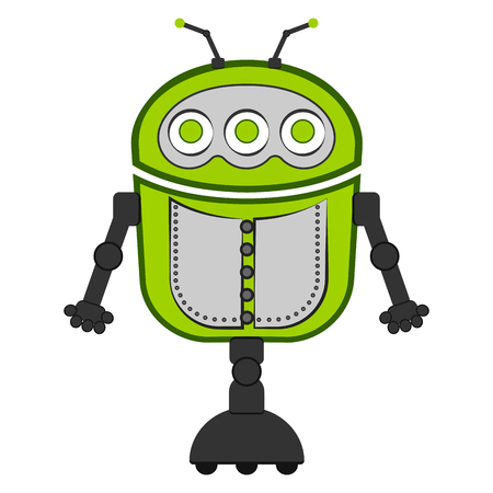 Isolated green cute robot Illustration