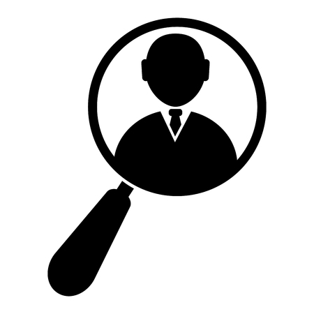 Magnifying glass zooming a businessman icon illustration. Isolated on white background.