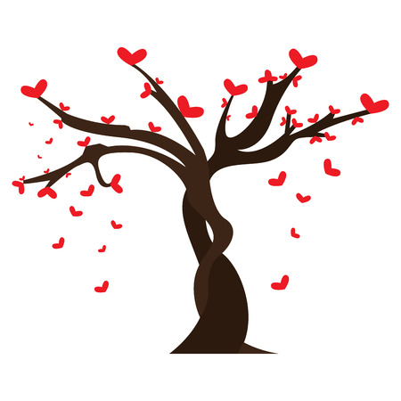 Tree with heart shaped leaves Illustration