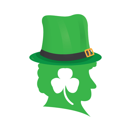 Silhouette of an Irish elf with hat and clover vector illustration design.