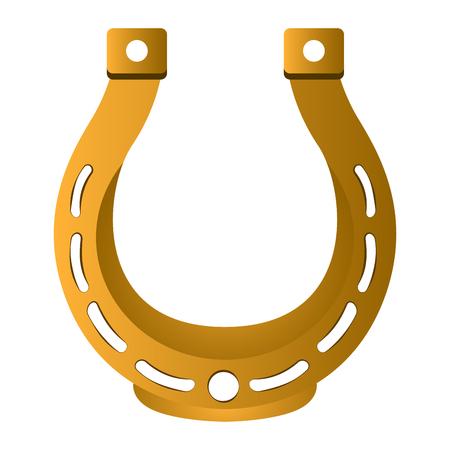 Golden horseshoe image. Patrick day. Vector illustration image