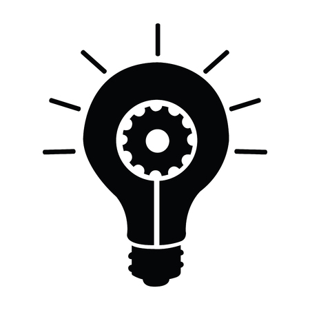 Light bulb silhouette with gear inside. Vector illustration design Ilustração