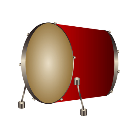 Isolated bass drum. Musical instrument