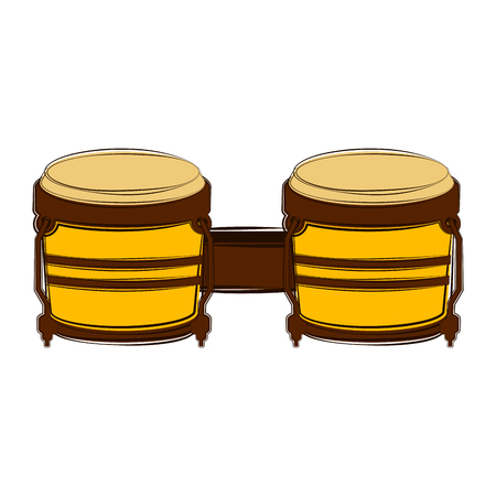 Sketch of a bongo drum. Musical instrument. Vector illustration design