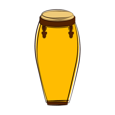 Sketch of a conga drum. Musical instrument. Vector illustration design