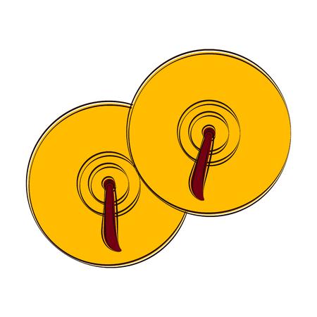 Sketch of cymbals. Musical instrument. Vector illustration design Vector Illustration