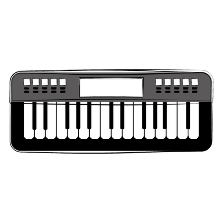 Sketch of a keyboard. Musical instrument. Vector illustration design