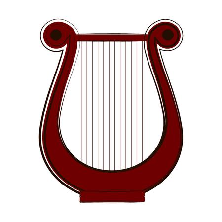 Bosquejo de una lira. Instrumento musical. Diseño de ilustración vectorial