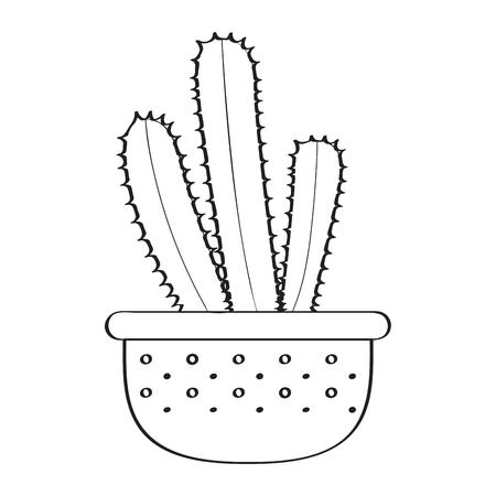 Isolated cartoon cactus sketch. Vector illustration design Illustration