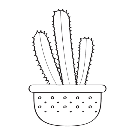 Isolated cartoon cactus sketch. Vector illustration design Çizim