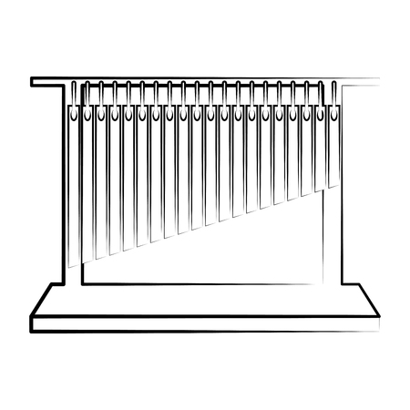 Isolated tubular bells outline. Musical instrument. Vector illustration design.